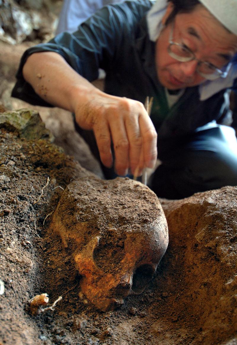 見えてきた頭蓋骨の周辺にある土を慎重に取り除く