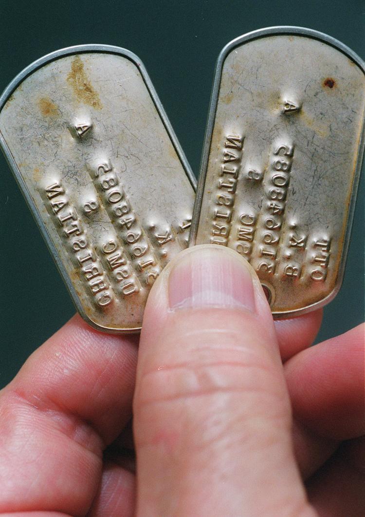 国吉さんが見つけた沖縄戦当時の米兵の認識票。身元は不明