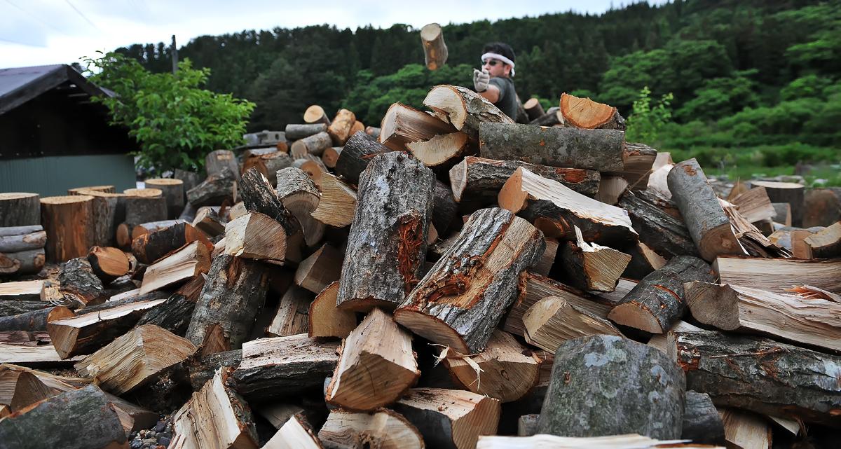 積み上がった薪山に更に投げて上積みする。危ないでしょう!