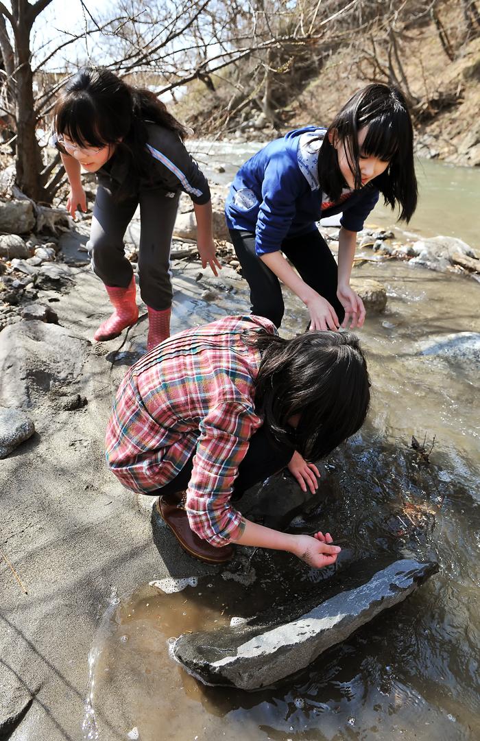 浅瀬に這いつくばるように水生昆虫を探す。長靴に水も入り、足はもう濡れっぱなし