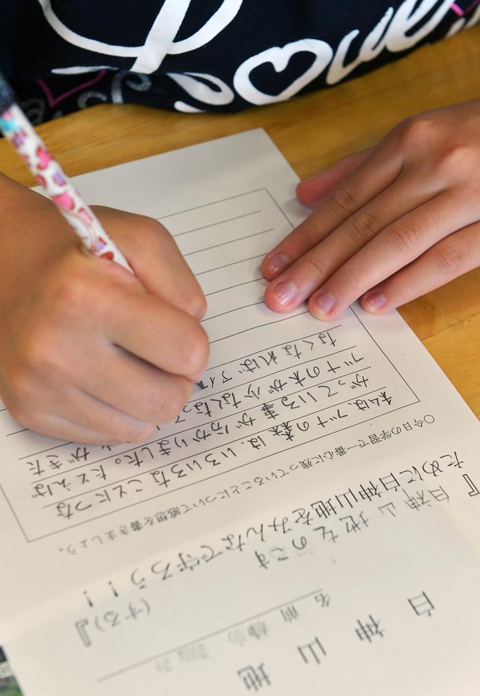 授業の終わりに、学んだ事を感想に書く。皆んな、きちんと理解できました
