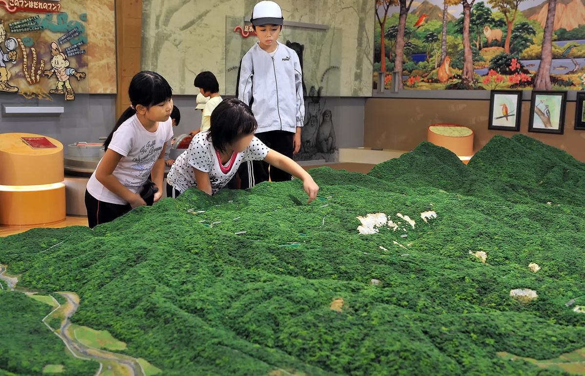 エコミュージアムを見学する児童たち
