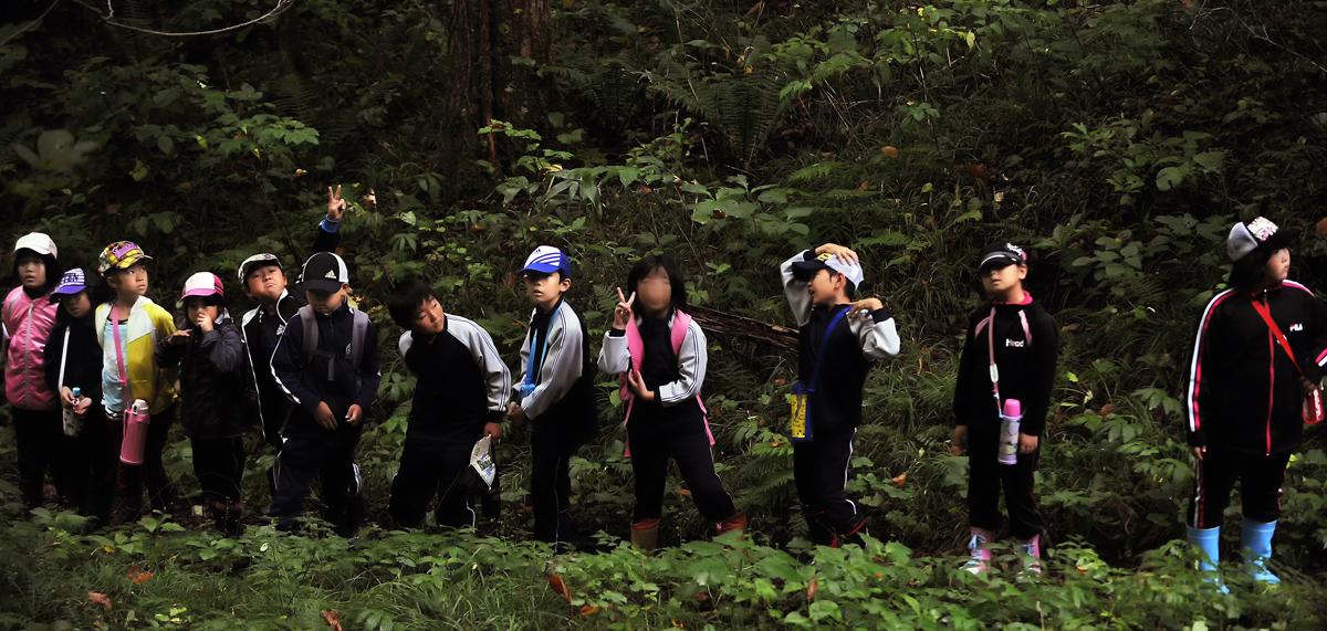 森の中は危険もいっぱい。でも今日は、親方がいるから安心だね