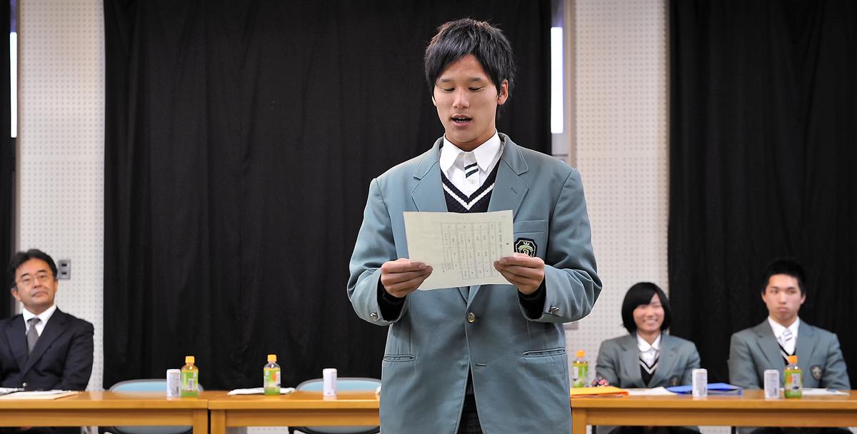 屋久島高校の生徒代表から、交流の継続とお褒めの言葉を戴きました