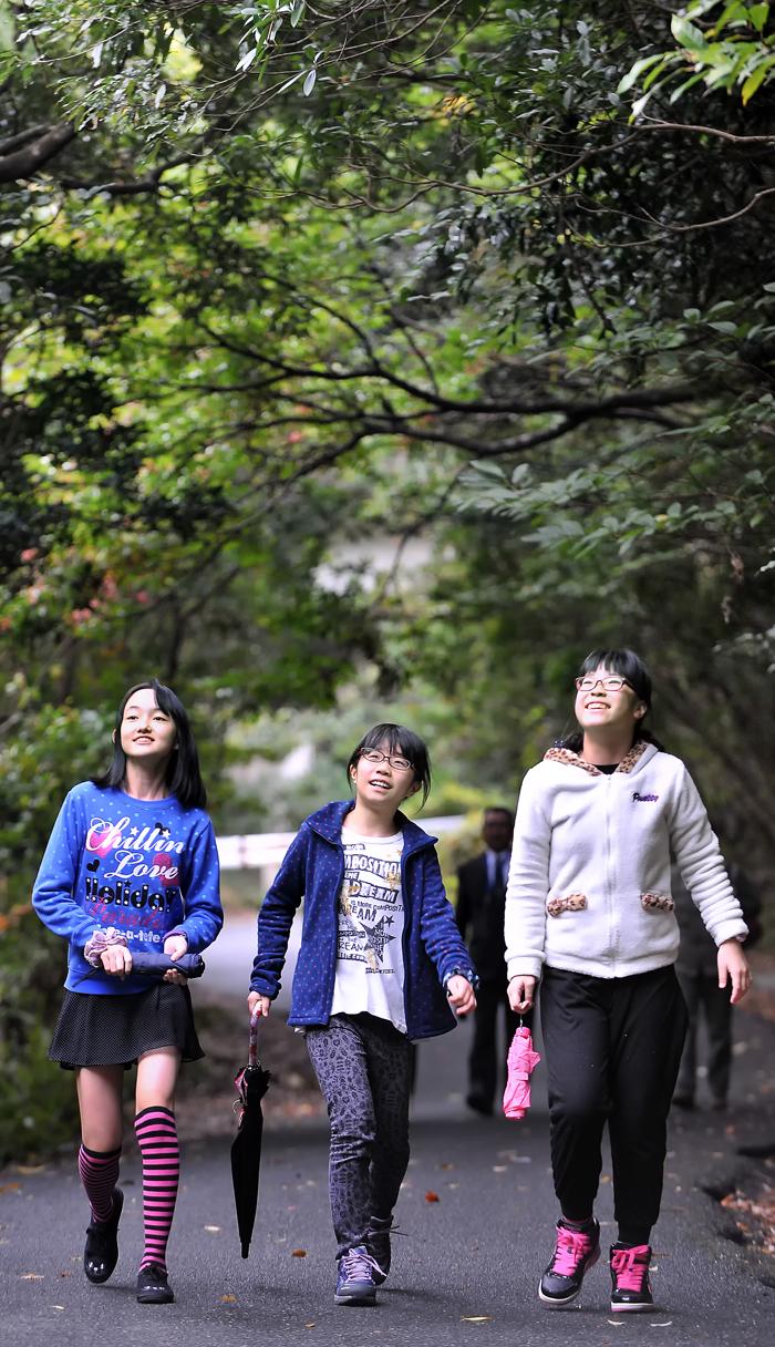 元気いっぱいに屋久島の森を歩く三人娘