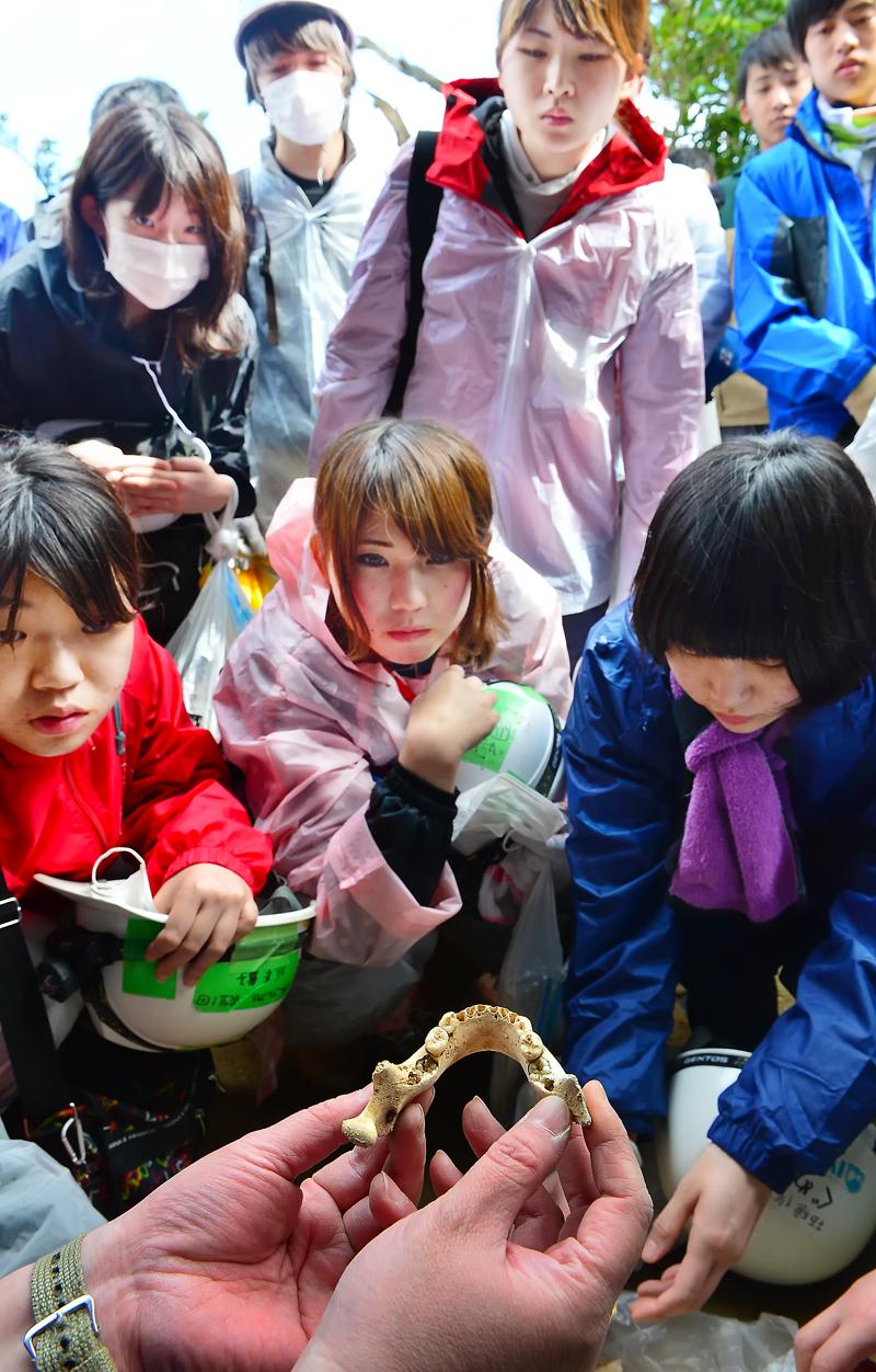 出土した子供の物とみられる下顎骨の説明を聞く学生たち