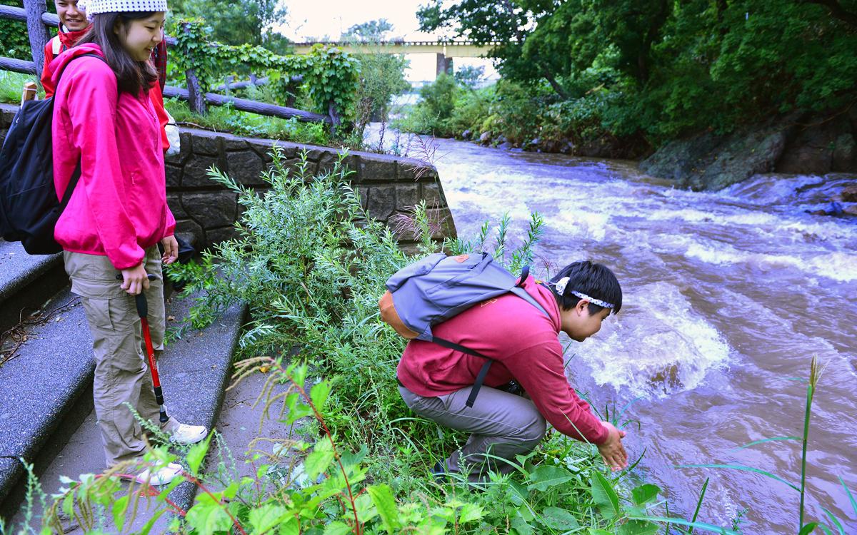 前夜までの大雨で濁流となった津梅川で、身を清める