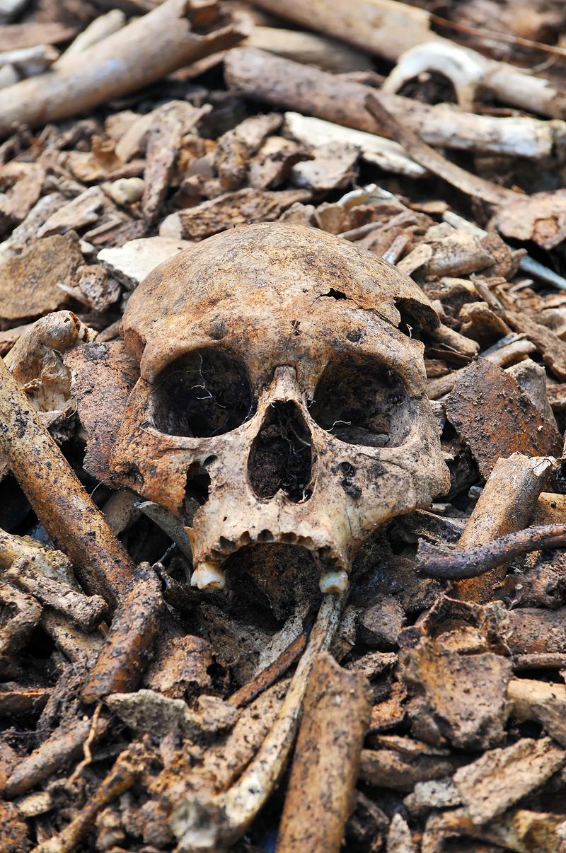 真栄里の病院壕周辺から掘り出した遺骨