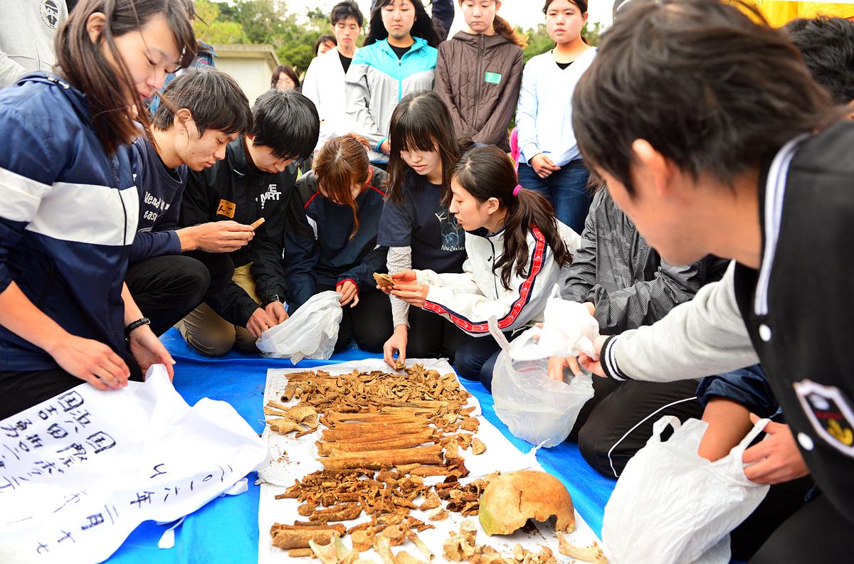 集めた遺骨についた土を払う学生たち